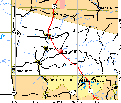 Pineville, MO map