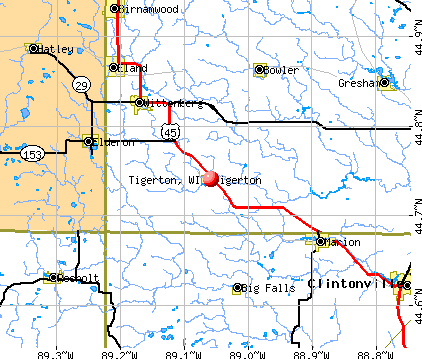 Tigerton, WI map