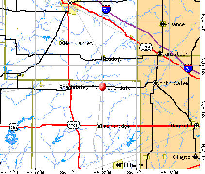 Roachdale, IN map