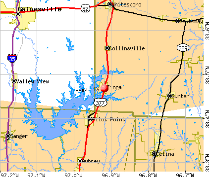 Tioga, TX map