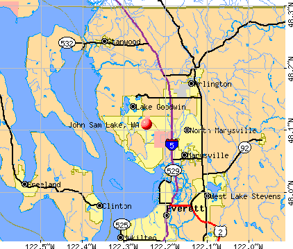 John Sam Lake, WA map