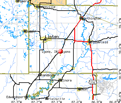 Lyons, IN map