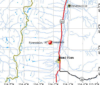 Pinesdale, MT map