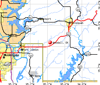 Woodall, OK map