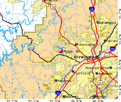 Mulga, AL map