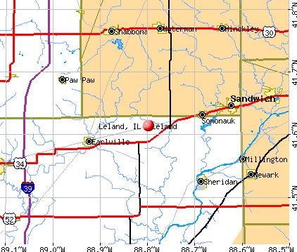 Leland, IL map