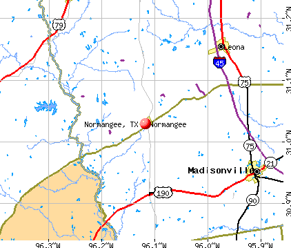 Normangee, TX map