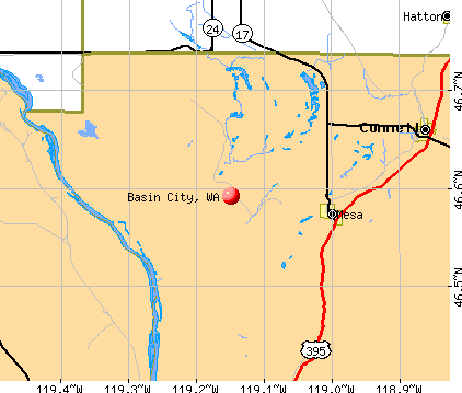 Basin City, WA map