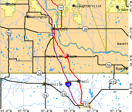 Wayne, OK map