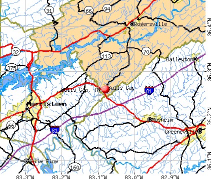 Bulls Gap, TN map