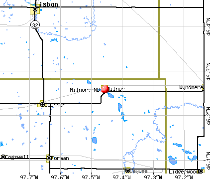 Milnor, ND map