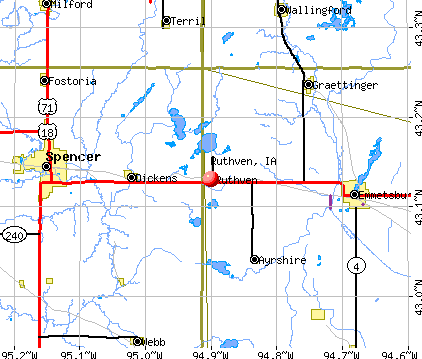 Ruthven, IA map