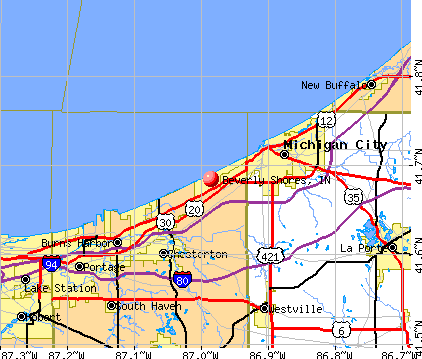 Beverly Shores, IN map