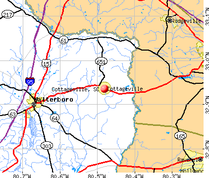 Cottageville, SC map