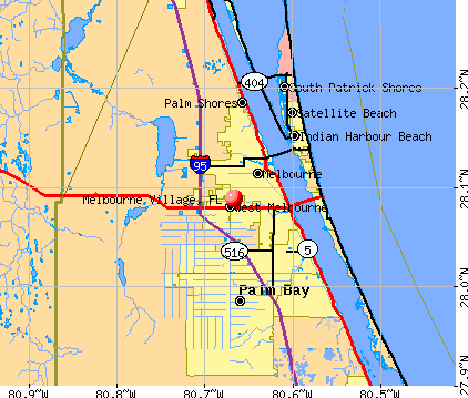 Melbourne Village, FL map
