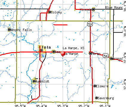 La Harpe, KS map