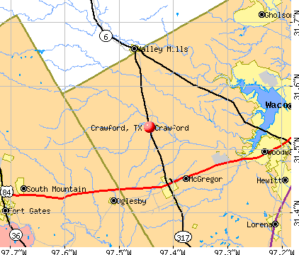 Crawford, TX map