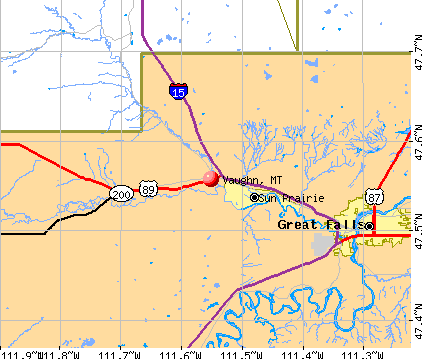Vaughn, MT map