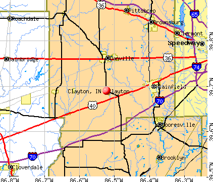 Clayton, IN map