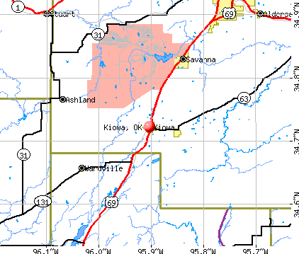 Kiowa, OK map