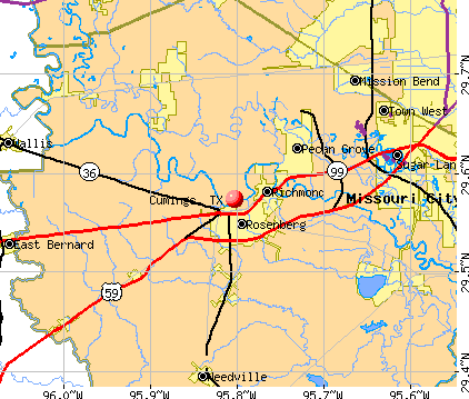 Cumings, TX map