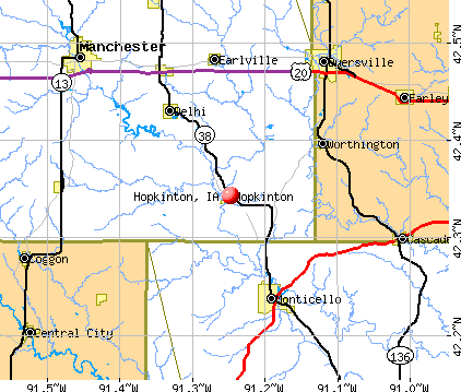 Hopkinton, IA map
