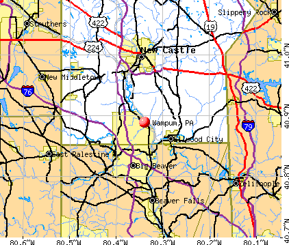 Wampum, PA map