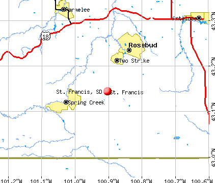 St. Francis, SD map