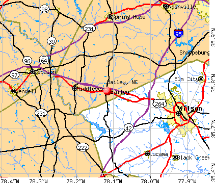 Bailey, NC map