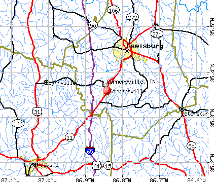 Cornersville, TN map