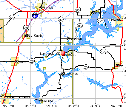 Langley, OK map