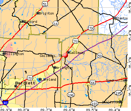 Gallaway, TN map