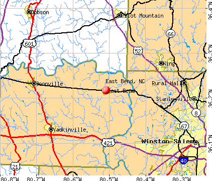 East Bend, NC map