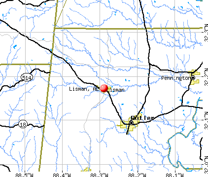 Lisman, AL map