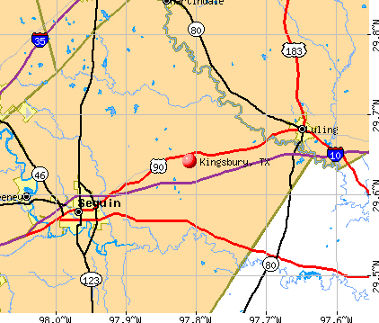 Kingsbury, TX map