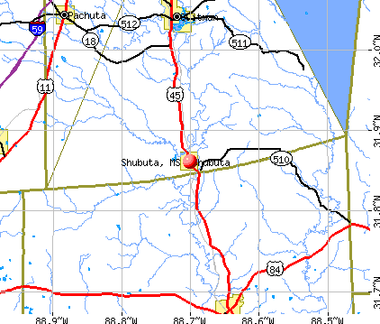 Shubuta, MS map