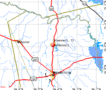Colmesneil, TX map