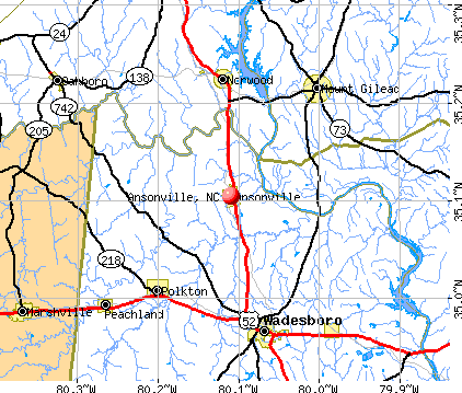 Ansonville, NC map