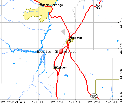 Metolius, OR map