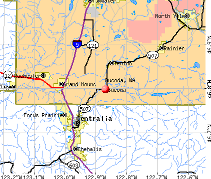 Bucoda, WA map