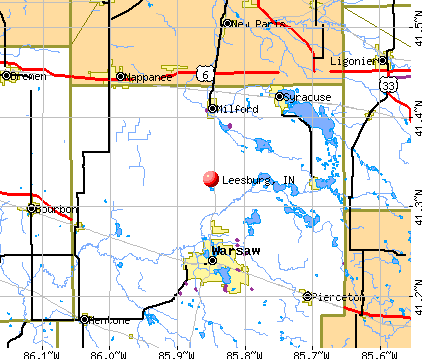 Leesburg, IN map