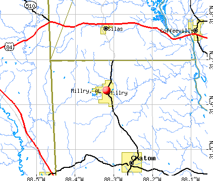 Millry, AL map
