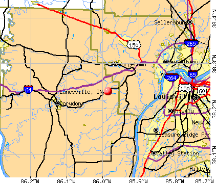 Lanesville, IN map