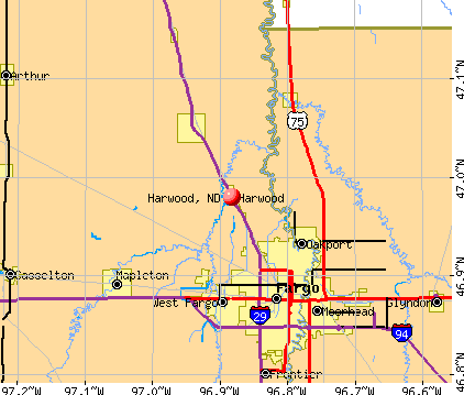 Harwood, ND map