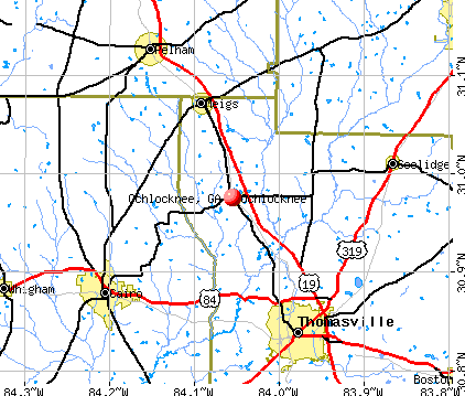 Ochlocknee, GA map