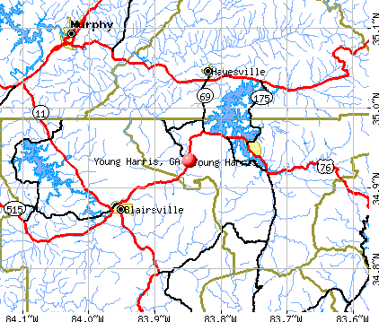 Young Harris, GA map