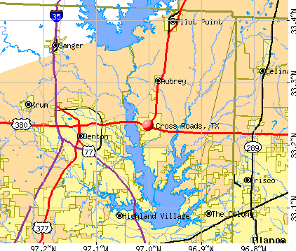 Cross Roads, TX map