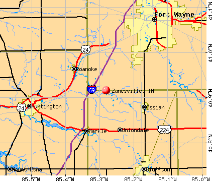 Zanesville, IN map