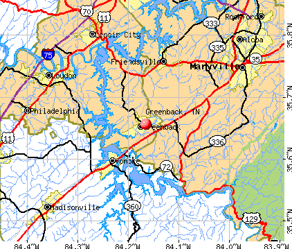 Greenback, TN map