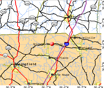 Orlinda, TN map